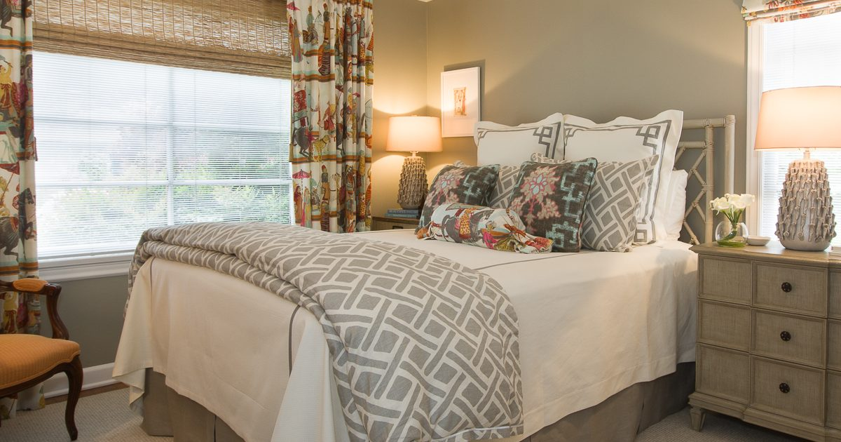 Traditional Master Bedroom with Bold Colors and Patterns