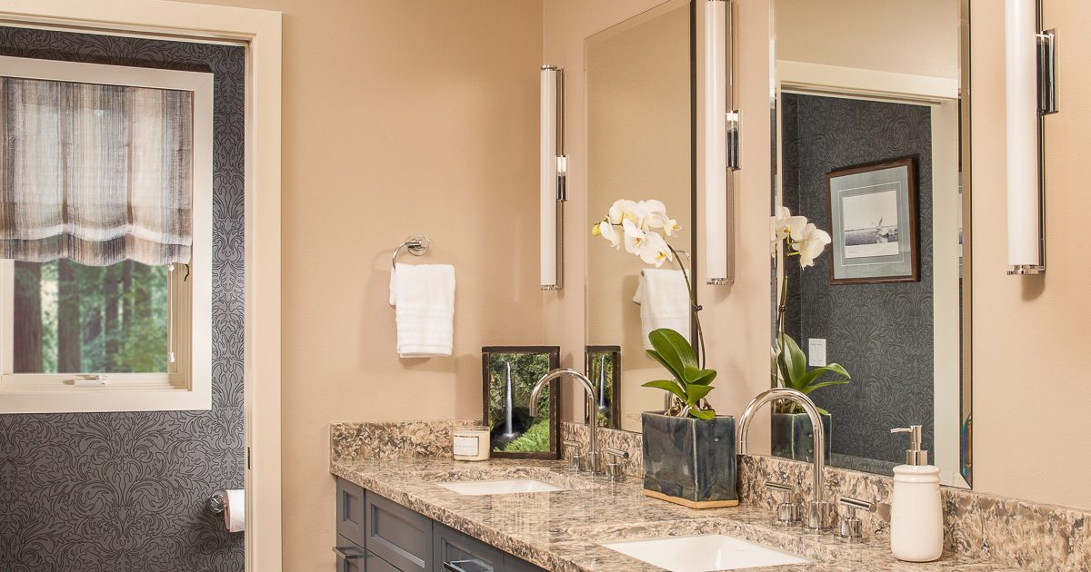 Transitional master bath with sophisticated colors and textures